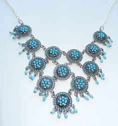 Turquoise Silver Bubble Bib Necklace by CloudNineDesignz on Etsy, $40.00
