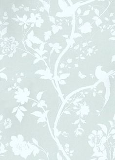 Oriental Garden Eau de Nil (3329307) - Laura Ashley Wallpapers - A beautiful and elegant design of an oriental floral-trail of cherry blossoms and dainty birds in off white on a eau de nil blue pearlescent background. Additional colourways also available. Please request a sample for true colour match.
