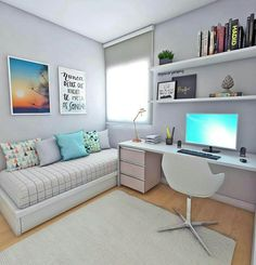 white desk designs for minimalist home office 9 < Home Design Ideas Room Design, Home Bedroom, Home Decor, Home Office Design, Apartment Decor, Home Deco, Small Bedroom, Bedroom Decor, Dream Rooms