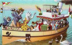 Eugen Hartung Artist Signed Mainzer Dressed Cats River Cruise Vintage Postcard Dressed cats fantasy by artist Eugen Hartung Cat family on river cruise complete with music. Published by Alfred Mainzer