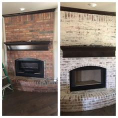 Before and after- plaster smeared fireplace! German smear. Fixer Upper inspired.