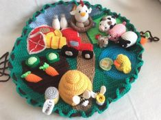 Crop Out Cleanup With This Farm Playmat When I was a kid, I played with my broth., Out Cleanup With This Farm Playmat When I was a kid, I played with my brother's toys as much as my own. I really loved their Legos, Playmobil. Crochet Game, Crochet Baby Toys, Crochet For Boys, Crochet Toys Patterns, Stuffed Toys Patterns, Crochet Crafts, Crochet Dolls, Baby Knitting, Crochet Projects