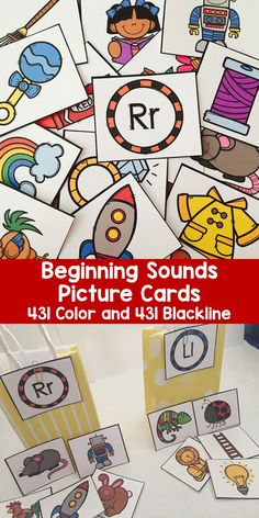 Beginning sounds picture cards have pictures for all 26 letters from A to Z. There are 431 picture cards perfect for introducing letters and beginning sounds, sorting by beginning sounds, building vocabulary, and sorting by number of syllables.