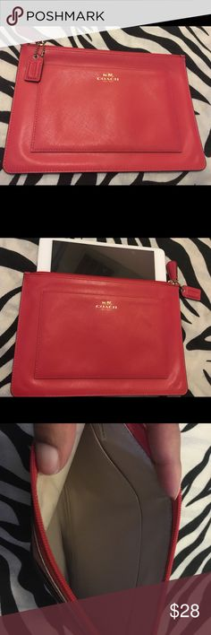 """COACH tablet case protector 9"""" across 6.5"""" length store and transport your tablet in this stylish case from COACH in gently used pre loved condition. features gold embossed letters and red leather hangtag. No marks rips tears or stains. Inside pocket for more storage. Tablet shown is not included but for reference it is Ipad mini. Coach Accessories Tablet Cases"""