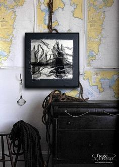 The port  - Textile Art - nautical home decor / maritime decor, modern interior, contemporary art, wall hanging, black white grey