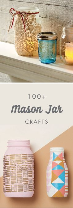 We're all big fans of mason jars! Whether it's geometric votive holders or an indoor terrarium, find a wonderful craft for your home with help from Jo-Ann. And thanks to this collection of 100+ Mason Jar Projects there are even more ways to use your favor https://tmblr.co/ZRlNZd2N9tCgl Mason Jar Gifts, Mason Jar Diy, Diys With Mason Jars, Mason Jar Projects, Jar Art, Decorated Jars, Glass Jars, Cute Crafts, Masons