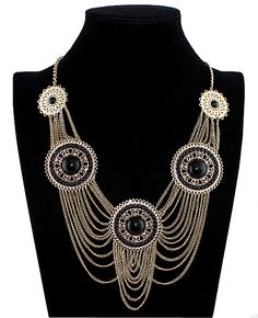 Black Sun Shape Beads And Tassel Necklace - Sheinside.com