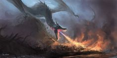 Hi, I try to painting a dragon to burn the army and try to make the picture more coordinated.