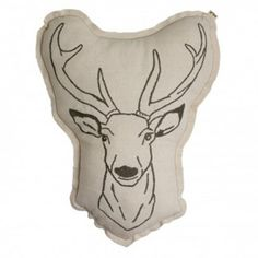Stag cushion Numero 74 Children- A large selection of Design on Smallable, the Family Concept Store - More than 600 brands. Home Design, Baby Design, Stag Cushion, Animal Cushions, Goods Home Furnishings, Decoration Design, Kids House, Natural, Deer