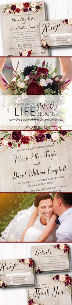 Natural boho themed wedding invitation suite, complete with invitation, rsvp postcard, thank you card, & insert card, features earth tones and accents of romantic burgundy, wine and blush hued florals. Natural greenery and romantic typography make for an absolutely dreamy combination, all accentuated with a natural watercolor background. A collection that couldn't be more perfect for a garden wedding, boho / bohemian event, barn wedding, outdoor dinner, or any natural styled event!
