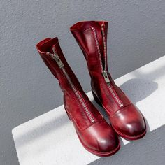 Red Round toe Cow leather front zip boots Thick Heels 209ca032e15c