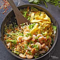 This healthy dish, with shrimp as the protein, has a kick of crushed red pepper along with flavors like ginger and cilantro. Cauliflower rice has become so popular that many supermarkets sell pre-riced cauliflower in the produce section.