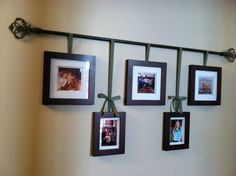 My version of a curtain rod photo hanger. Perfect for our long hallway ! My version of a curtain rod photo hanger. Perfect for our long hallway ! Wedding room decoration p Corner Wall Decor, Hallway Wall Decor, Hallway Walls, Hallway Ideas, Wall Ideas, Diy Wall, Room Ideas, Shelf Ideas, Hallway Lighting
