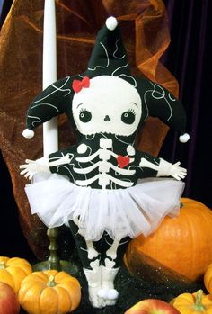 Skeleton Girl Harlequin Softie Doll. $50.00, via Etsy.