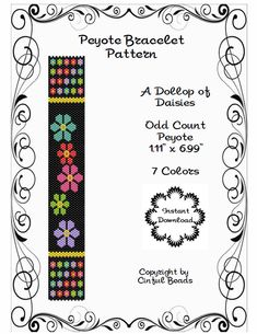Peyote Bracelet Pattern Daisy Flower Design by CinfulBeadPatterns