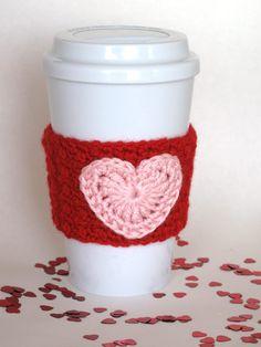 Crochet Flower Coffee Cup Cozy Black by TheEnchantedLadybug