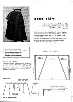 "Free Sewing Pattern: Vintage panel skirt with 4 deep pleats. From ""Smart Sewing,"" ©1953, p. 10 [pin 1 of 2], You Must Go Backwards For Page 2 In The Photo Stream."