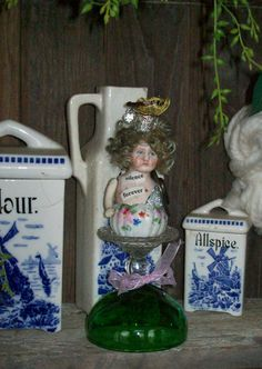 Artisan Found Objects Mixed Media Frozen Charlotte Art Doll by louzart, $35.00