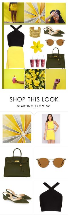 """""""olive & yellow"""" by xxmichelleg ❤ liked on Polyvore featuring Intelligent Design, Hermès, Oliver Peoples, Paul Andrew, BCBGMAXAZRIA, Chanel, summerfruits, PROBLACK and unapologeticallyblack"""
