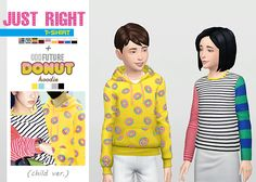Just Right T-Shirt (Child Ver.) + Odd Future Donut Hoodie (Child Ver.)  • New meshes / EA mesh edits  • Category: tops (unisex)  • Age: child  • 9 swatches (Just Right T-Shirt), 5 swatches (Odd Future Donut Hoodie)  • Note: from Simblreen 2016, Just Right...