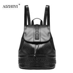 Black Travel Backpack Korean Women Female Rucksack Leisure Student Schoolbag Soft PU Leather Bag Vintag Drawstring Backpack