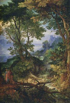 キリストの誘惑が描かれた山岳風景 ヤン・ブリューゲル(父)