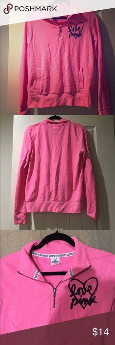 Victoria Secret Pink half zip sweater. Victoria secret pink half zip hot pink sweater. Very cozy comfort sweater. In a size small. Feel free to make an offer!! 💗💓💖💕💞💝 PINK Victoria's Secret Jackets & Coats Utility Jackets