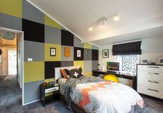 Tracy revives a kiwi icon | Habitat by Resene Aluminium Joinery, Timber Walls, Natural Interior, Acoustic Panels, Black Kitchens, Interior Paint, Cladding, Kiwi, Living Area