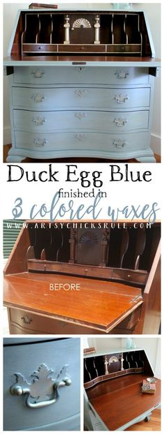 3 Colored Waxes Make This Great! Secretary Desk Makeover (Chalk Paint by Annie Sloan) artsychicksrule.com #duckeggblue #chalkpaint #paintedsecretary