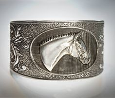 Horse Head Cameo English Hunter Cuff bracelet. $24.99, via Etsy.