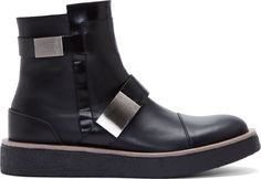 Calvin Klein Collection - Black Leather Brushed Metal Buckle Boots