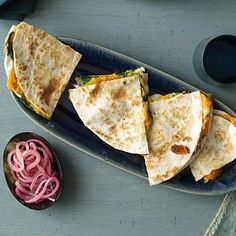 Dinner for Two: Spinach & Sweet Potato Quesadillas.