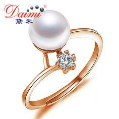 Daimi 100% vera perla anello aaa 8-9mm d'acqua dolce perla anello di barretta per le donne regalo di anniversario anello femminile bijoux all'ingrosso