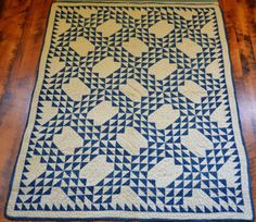 Antique-19th-Century-Hand-Stitched-Blue-and-White-Calico-Oceans-Wave-Quilt