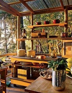 traditional outdoor kitchens in the woods