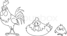 Outlined chicken family | Vector | Colourbox on Colourbox