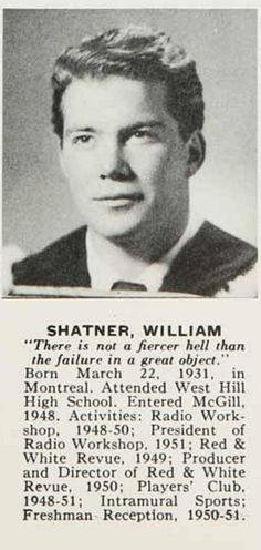 William Shatner - This picture of young William Shatner looks exactly like my older brother... Weird!!!