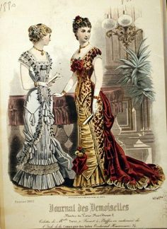 1880. Evening gowns, February, Journal des Demoiselles.
