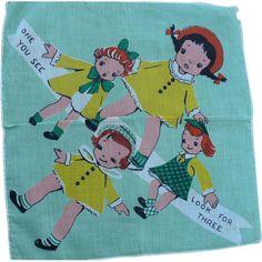 Girls Triplets  Child's Handkerchief