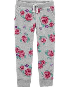 Toddler Girl Logo Fleece Floral Pants from OshKosh B'gosh. Shop clothing & accessories from a trusted name in kids, toddlers, and baby clothes. Boy Shoes, Baby Girl Shoes, New Outfits, Kids Outfits, Comfy Pants, Fleece Pants, Floral Pants, Girls Sneakers, Toddler Girl Outfits