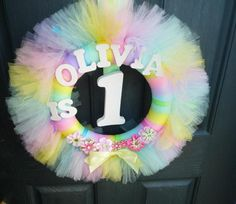 Gorgeous pastel tulle wreath #wreath #tulle