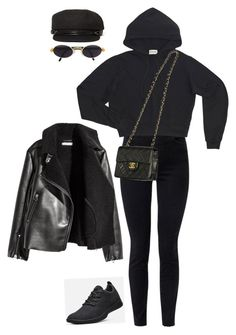 """""""Sin título #887"""" by hongron ❤ liked on Polyvore featuring J Brand, Gianfranco Ferré, San Diego Hat Co., H&M and Chanel"""