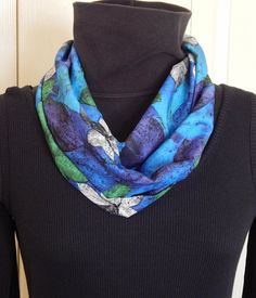 """Silky Infinity Scarf - 58"""" - FREE Shipping,  Botanical Leaf Patterns in purle, marina blue, green, black, white, gray & purple tones"""