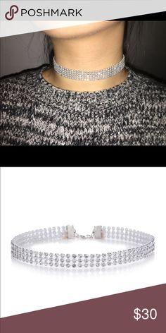Trendy Rhinestone Choker Necklace• Womens Diamond Crystal Wide Choker Necklace-  Party •Wedding Jewelry• Jewelry Necklaces