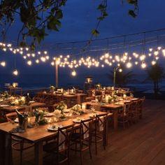 wedding reception on outdoor deck
