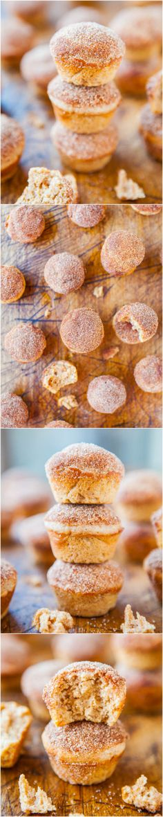 Cinnamon Sugar Mini Donut Muffins - Baked mini muffins that taste like fried mini donuts! You won't want to stop after just a few, but that's okay because they're baked. Easy recipe at averiecooks.com