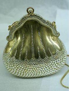 Judith Leiber Vintage Florentine Gold & Rhinestone Minaudiere