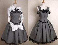 Nuevo Vestido Corsé en Gris Lolita Gótico Victoriano vestidos de fiesta largo Sleever