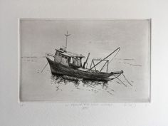 This is a unique impression of a Ligurian fishing boat from the seaport of Santa Margherita Ligure in Italy.  It combines the intaglio techniques of etching and monotype.  Santa Margherita Ligure is the fishing village just south of Portofino and hosts one of the largest commercial fishing fleets in Italy.  It is a bustling seaport where the contemporary world mixes with the traditions of the past.