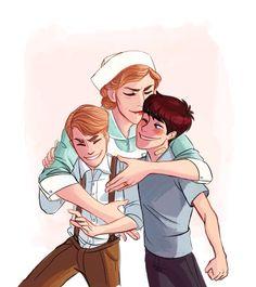 Little Bucky and Steve with Steve's mom